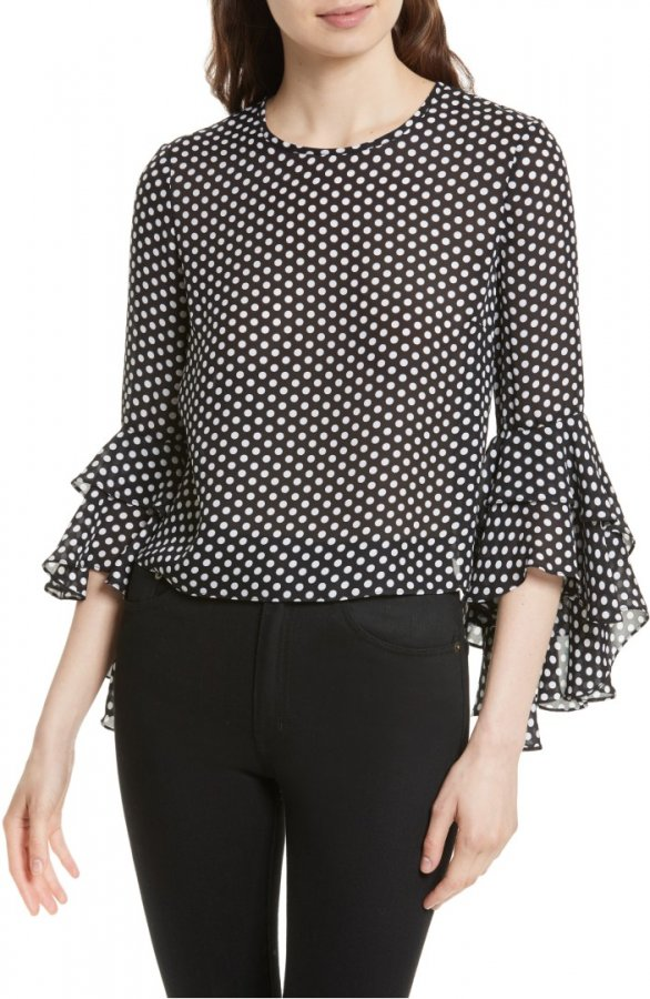 Gabby Dot Crepe Bell Sleeve Silk Top
