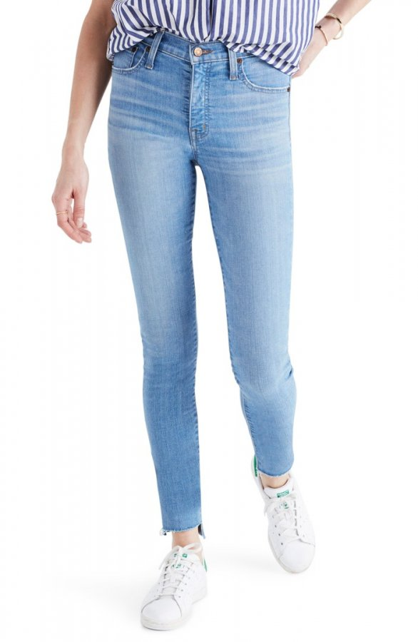 Step Hem Mid Rise Ankle Skinny Jeans