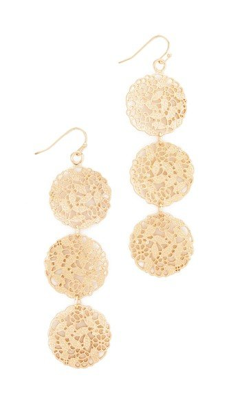 Ornate Three Tier Gold Disc Earrings