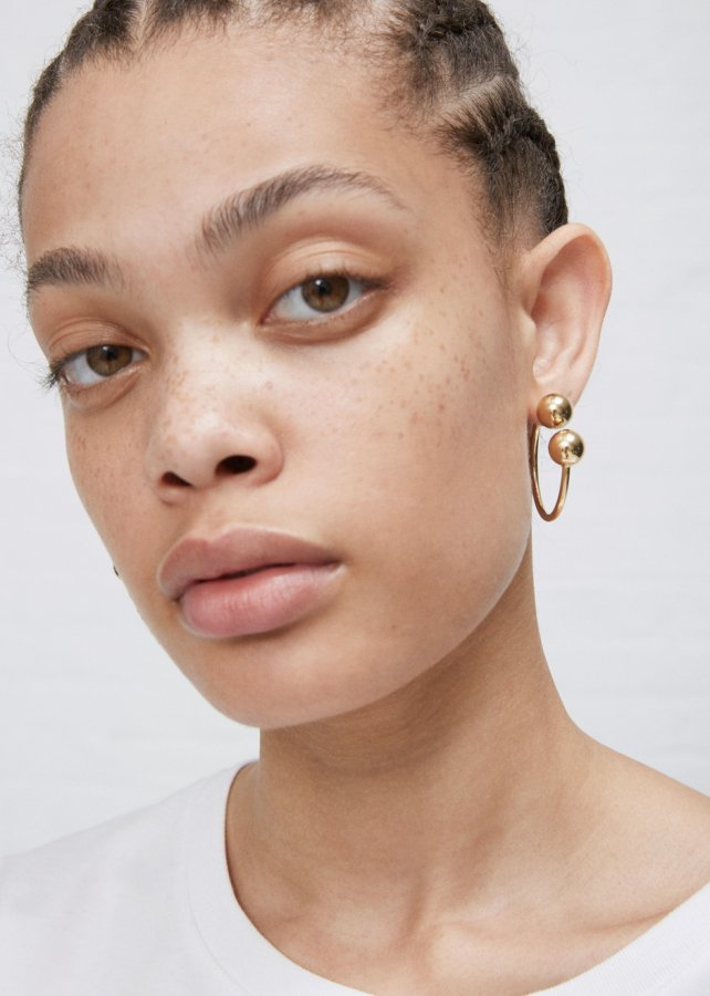 Gold Double Ball Hoop Earrings
