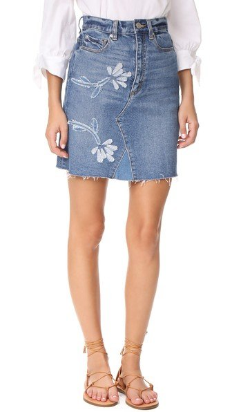 Fleur Patch Denim Skirt