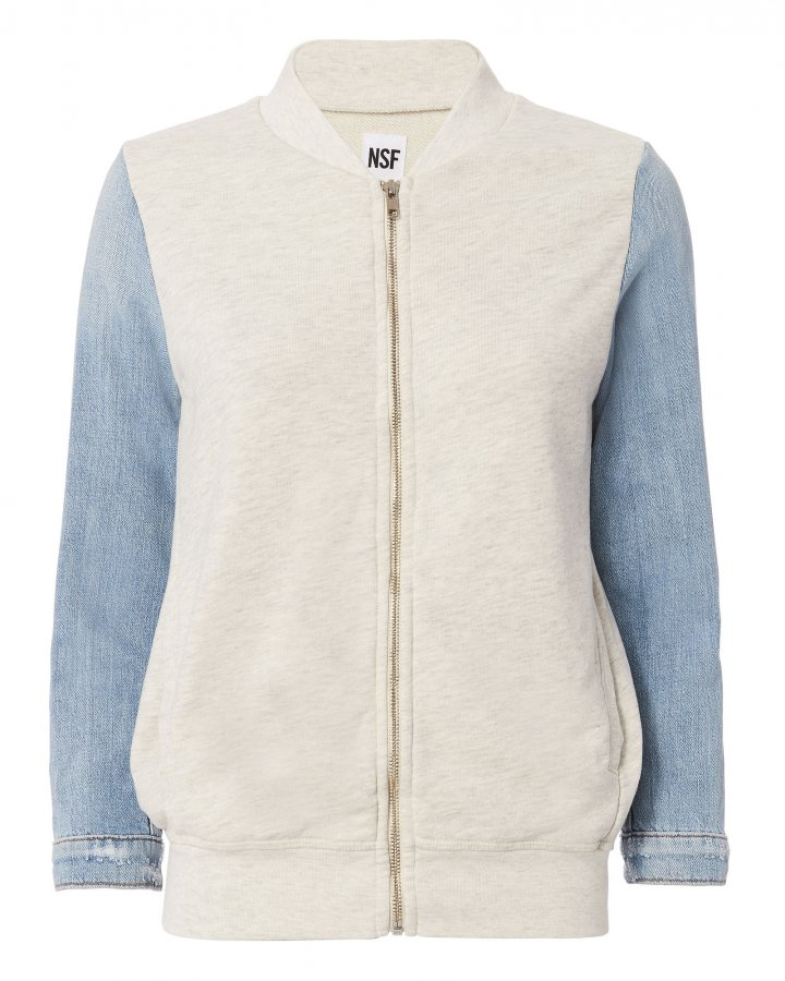Denim-Sleeved Bomber Jacket