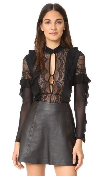 Eva Lace Ruffle Thong Bodysuit