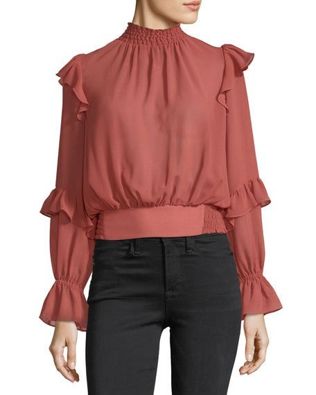 High-Neck Long Sleeves Ruffled Smocked Chiffon Blouse