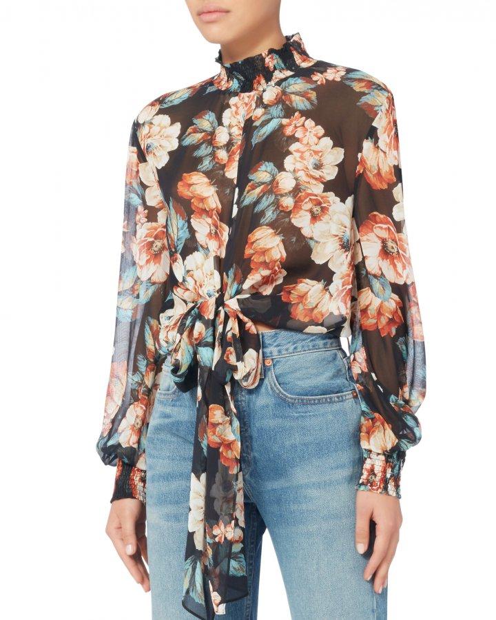 Tie Front Floral Blouse