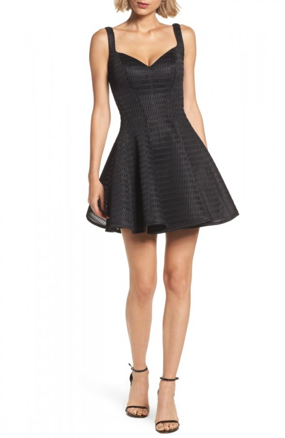Sweetheart Neoprene Fit & Flare Dress