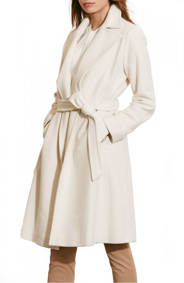 Wool Blend Wrap Coat