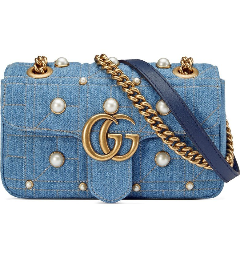 GG Marmont 2.0 Imitation Pearl Embellished Denim Crossbody Bag