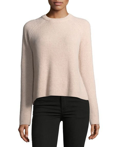 Bianca Crewneck Ribbed Cashmere Sweater