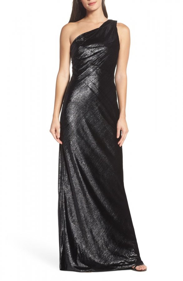 Stelle Metallic Velvet One-Shoulder Gown