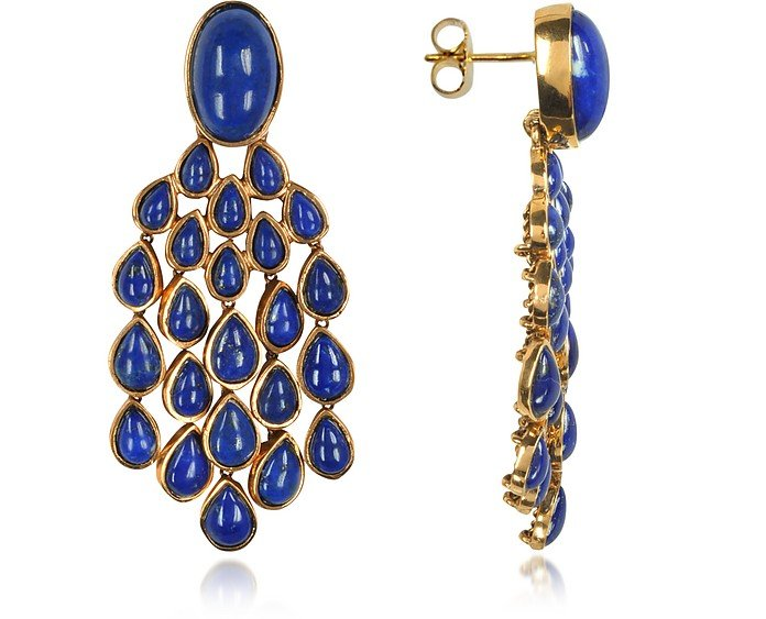 Cherokee 18K Gold-Plated Drop Earrings w/Lapis Lazuli Stones