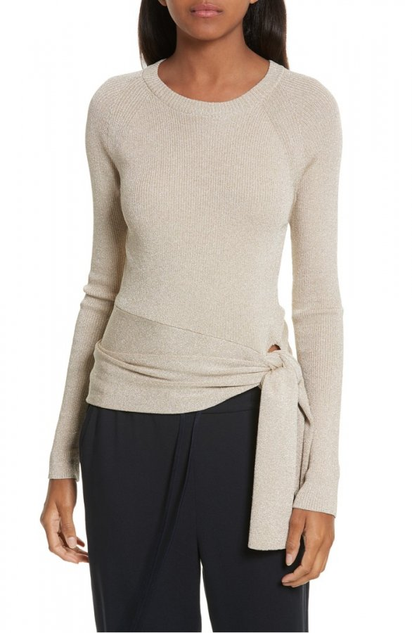 Metallic Side Tie Sweater