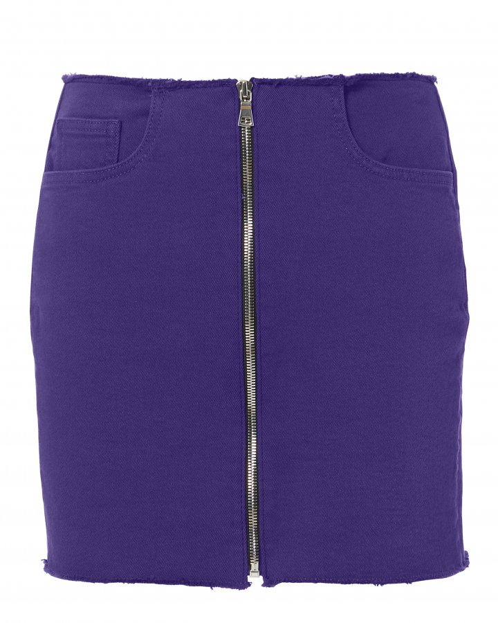 Zip Detail Purple Mini Skirt