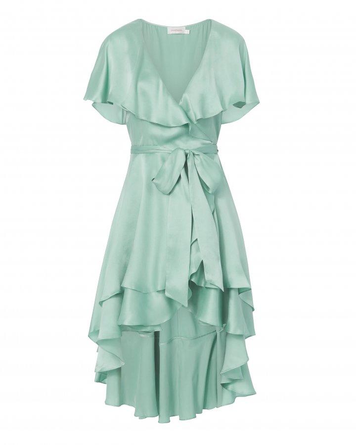 Ruffle Wrap Blue Midi Dress