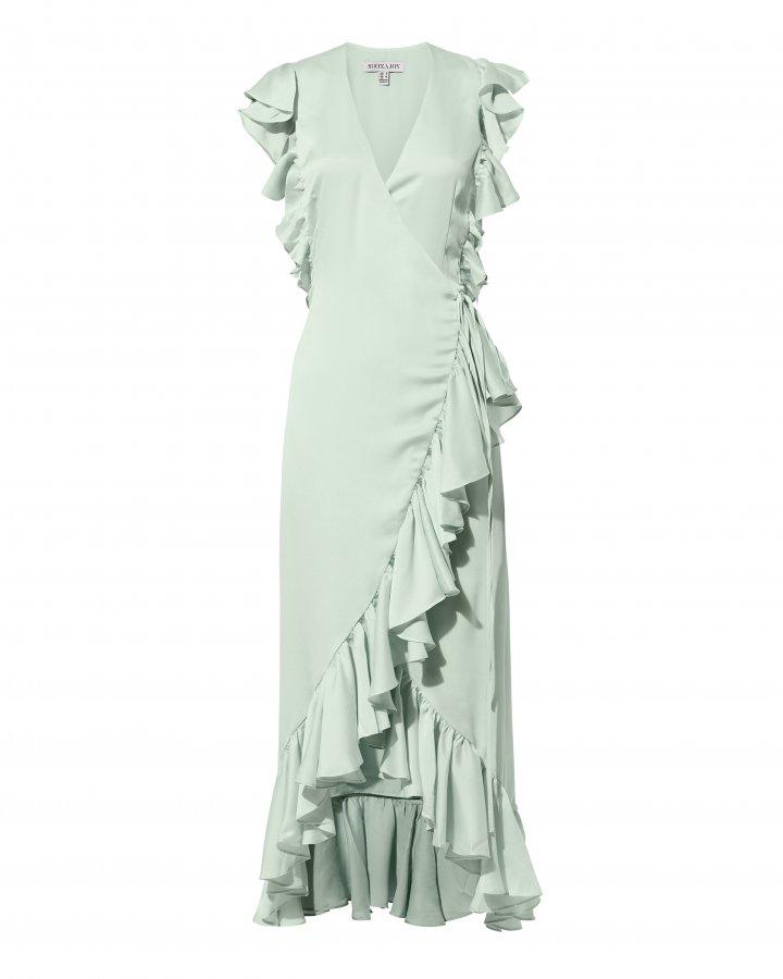 Zephyr Ruffle Wrap Midi Dress