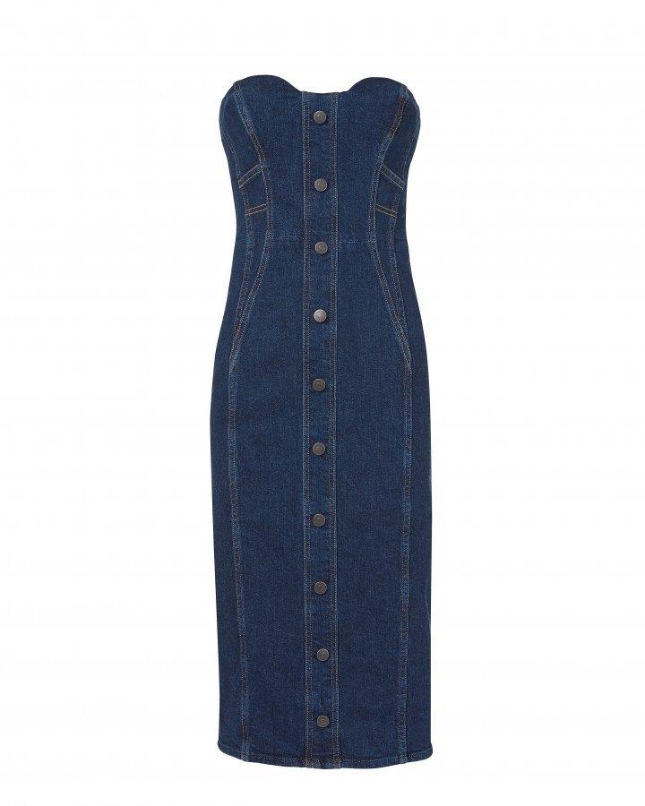 Liza Strapless Denim Midi Dress