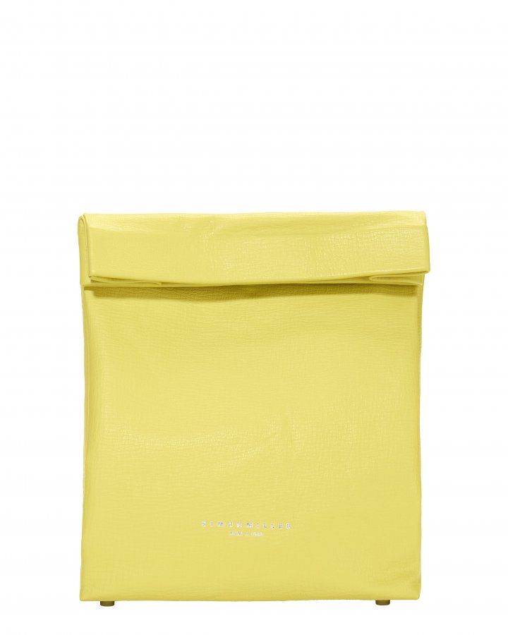 Foldover Yellow Leather Lunchbag