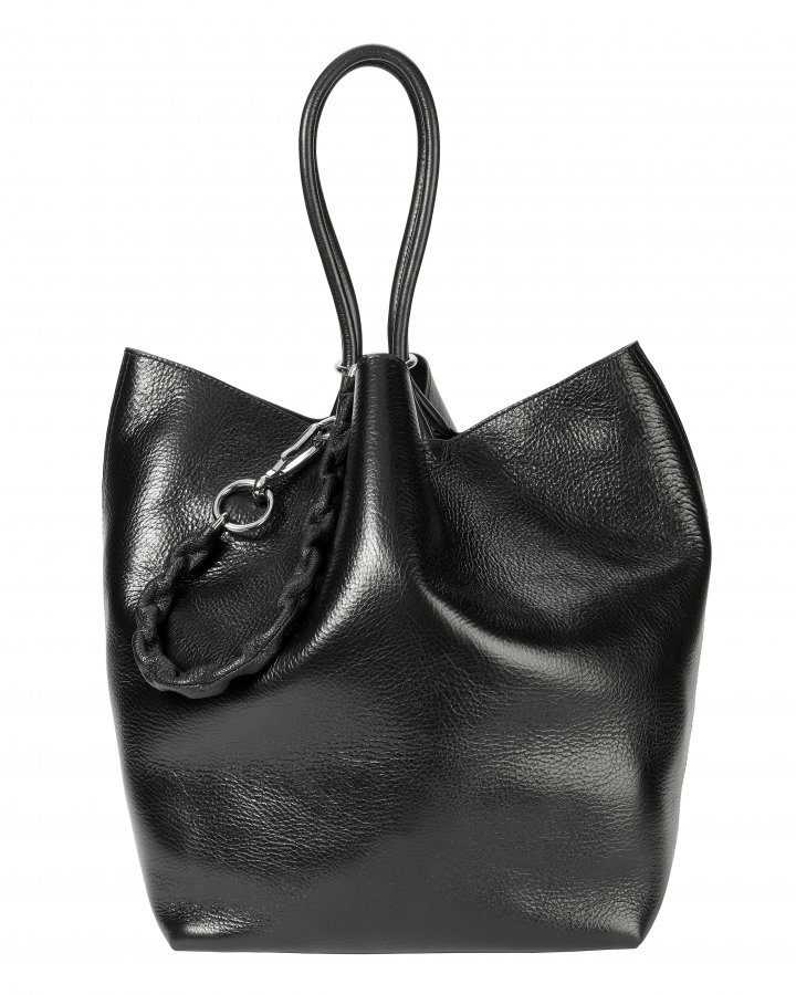 Roxy Large Black Leather Tote
