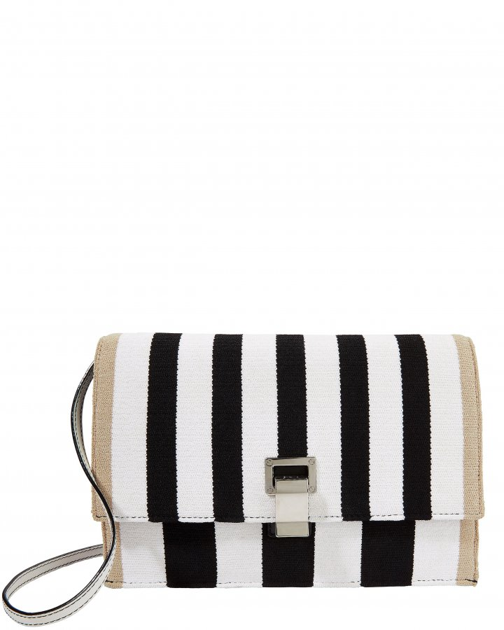Knit Striped Lunch Bag Clutch