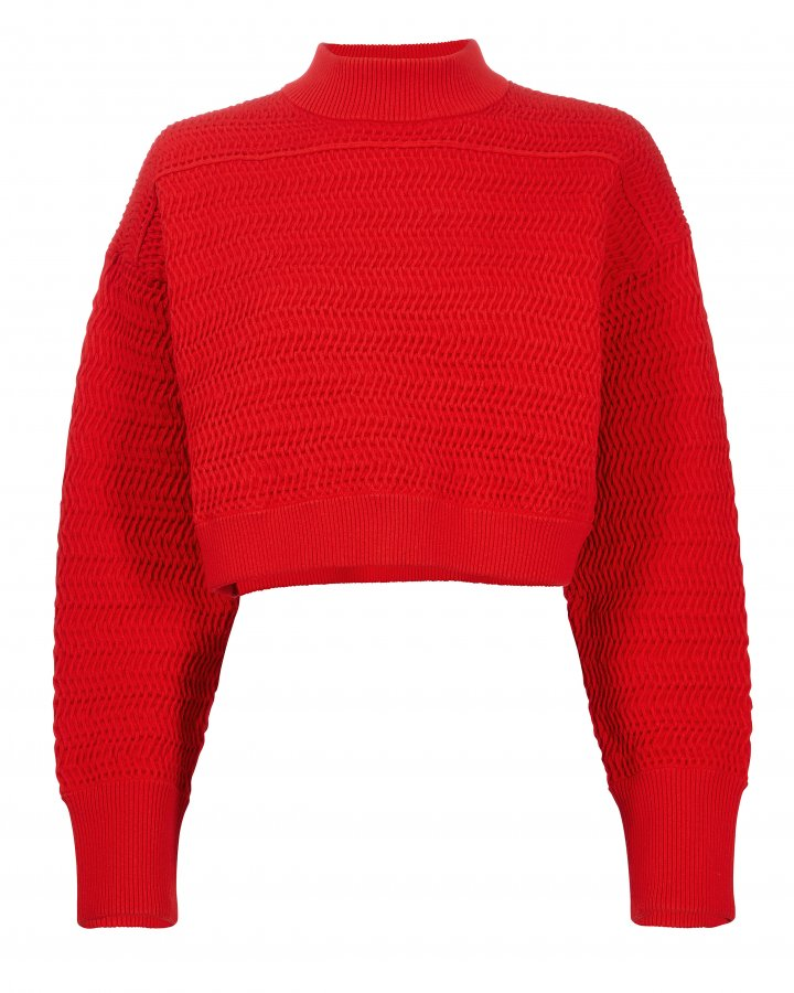 Red Knit Cropped Sweater