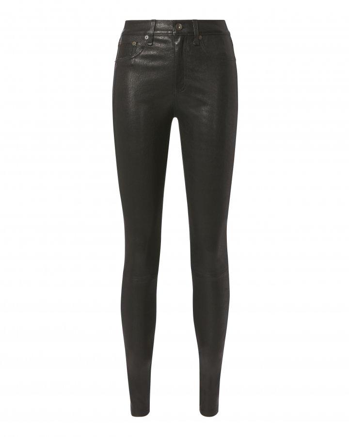 High-Rise Skinny Black Leather Pants