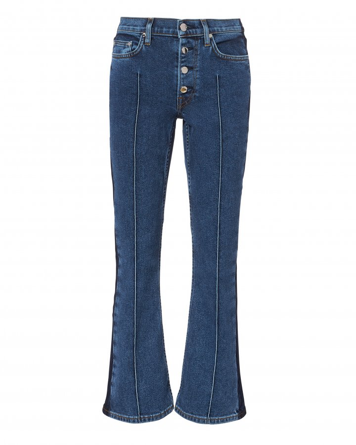 Two-Tone Crop Flare Jeans