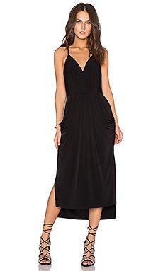 Crossover Midi Dress in Black