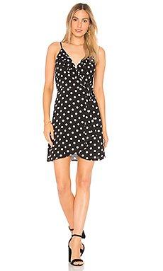 Polka Dot Faux Wrap Dress in Black & Ivory