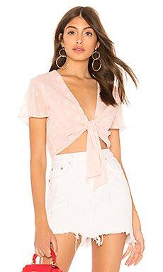 Aylin Star Embellished Tie Crop Top in Blush