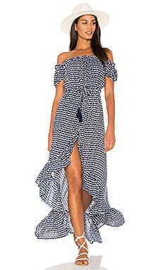 Riviera Maxi Dress in Sleet Navy & White