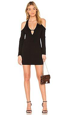 Anika Cold Shoulder Bodycon Dress in Black