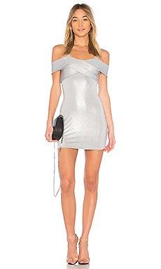 Evie Cold Shoulder Dress in Silver Metallic