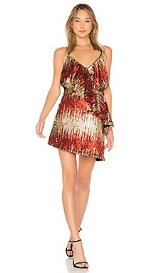 Caliente Dress in Red & Gold