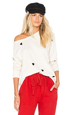 The College Sweatshirt in Washed White With Black Hearts