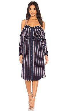 Cold Shoulder Dress in Navy Stripe
