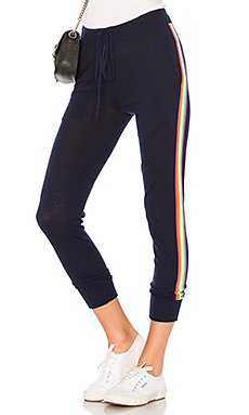 Rainbow Stripe Cozy Sweatpants in Navy & Multicolor Stripes