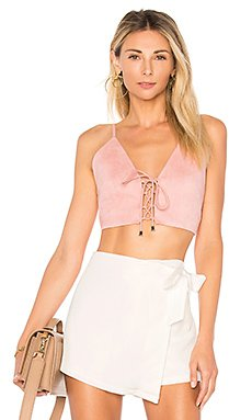 Crystal Faux Suede Top in Blush