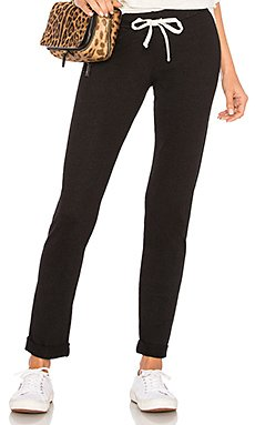 Foldover Slim Sweatpant in Black