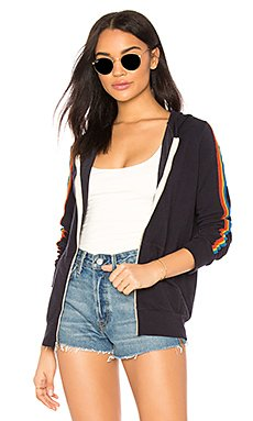 Rainbow Stripe Zip Up Hoodie in Neptune