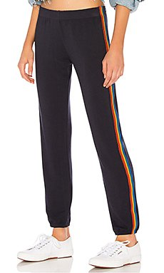 Rainbow Stripe Elastic Waist Sweats in Neptune