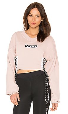 Logo Lace Up Sweatshirt in Shadow Grey