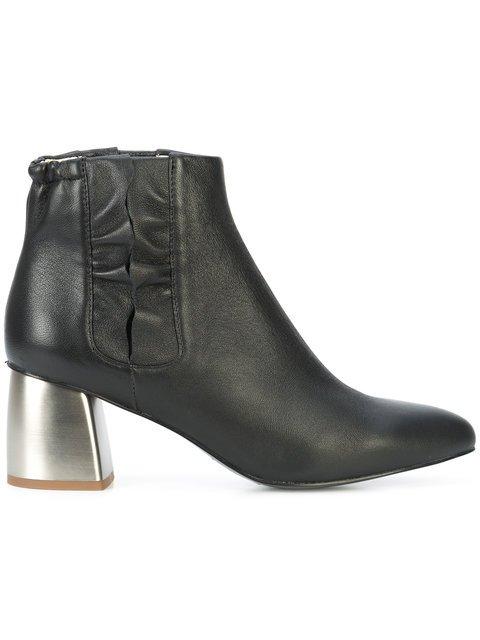 Jil Sander Navy Ruffle Trim Ankle Boots - Farfetch