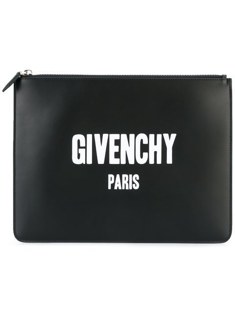 Givenchy Paris Logo Print Clutch - Farfetch