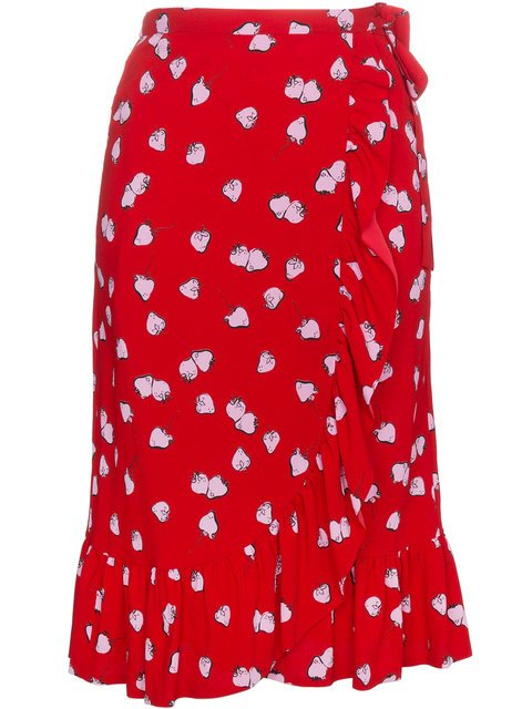 Miu Miu Strawberry Print Ruffle Wrap Skirt - Farfetch