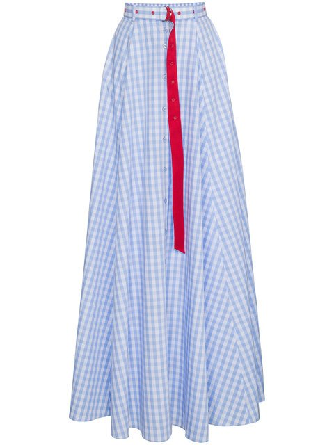 Adam Selman High Waist Gingham Cotton Maxi Skirt - Farfetch