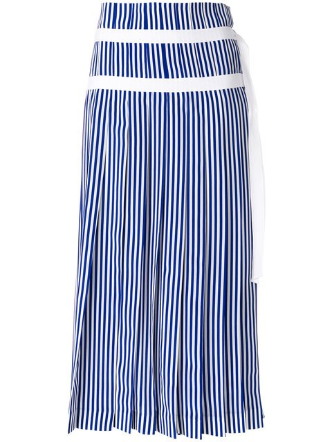 Joseph Striped Pleated Skirt With Double Belt Detail - Farfetch