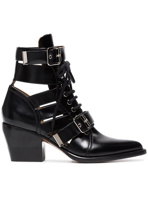 Chloé Black Rylee 60 Leather Buckle Ankle Boots - Farfetch