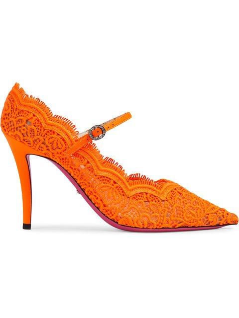 Gucci Orange Virginia 95 Lace Pumps - Farfetch