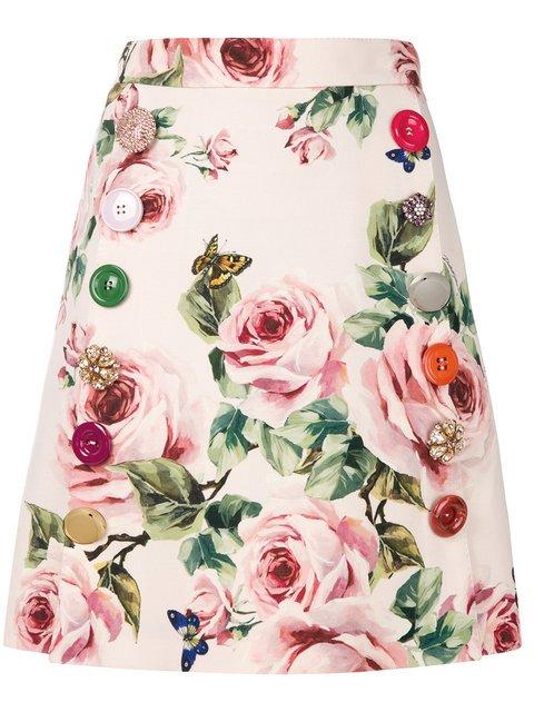 Dolce & Gabbana Rose Print A-line Skirt - Farfetch