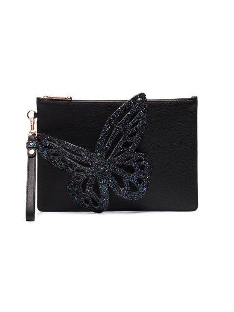 Sophia Webster Black Flossy Glitter Butterfly Leather Pouch - Farfetch